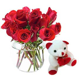 same day Online cute Teddy n Red roses in Vase Delivery
