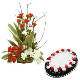 buy Online Black Forest Cake n mix carnations Basket
