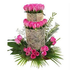 buy 50 Pink roses three tier Basket Midnight Delivery
