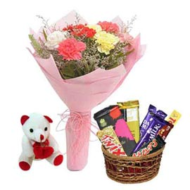 buy Online Assorted Chocolates, cute Teddy n carnations paper Bunch