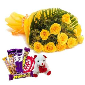xpress Online Yellow roses, Teddy n mix Chocolates Delivery
