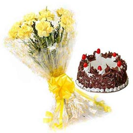 Send Online Black Forest Cake n Yellow carnations Bunch