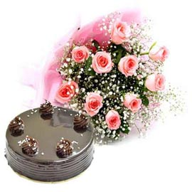 buy Online Chocolate Cake n 10 Pink roses Bunch