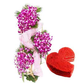 Send Same Day 1 Kg Red Velvet Cake n orchids Basket