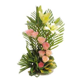 buy Pink roses n White lilies cane Basket Midnight Delivery