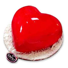 24 hrs Delivery of 1 Kg Valentine glossy Heart Vanilla Cake