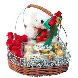 urgent Online Red roses handle Basket, Teddy n Rocher Chocolates