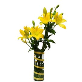 buy 4 Yellow lilies glass Vase Same Day Delivery