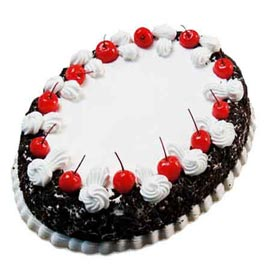 urgent Delivery of 2 Kg Black Forest oval Cake