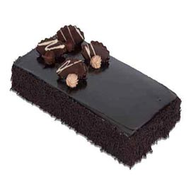 Send 1 Kg dark Chocolate rectangle Cake from local Bakery