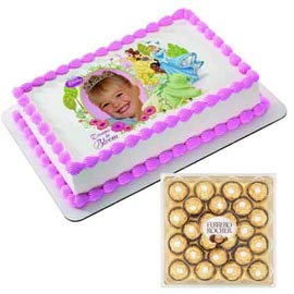 urgent Online Photo Cake n Rocher Chocolates pack