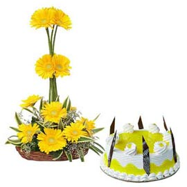 24 hrs Online Pineapple Cake n Yellow flowers Basket