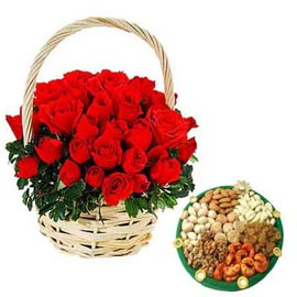 24 hrs Online Red roses Basket n Assorted Dry Fruit thali