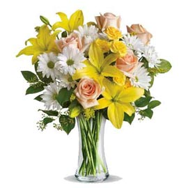 buy lilies gerberas n roses glass Vase Same Day Delivery