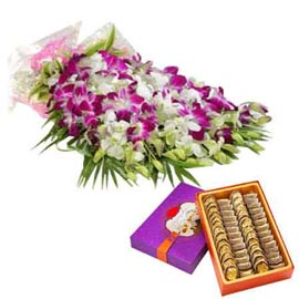 buy Online orchids Bunch n anjeer katli Sweets
