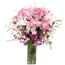 buy lilies & orchids glass Vase Same Day Delivery