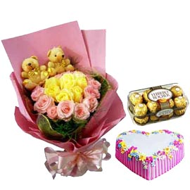 Send Online Rocher, Cake n designer flowersn Teddy arrangment